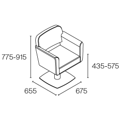 Fauteuil de coiffure Pahi Lima dimensions