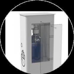 distributeur gel hydroalcoolique blanc acces flacon
