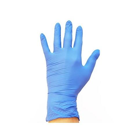 Gants de protection nitrile bleu main